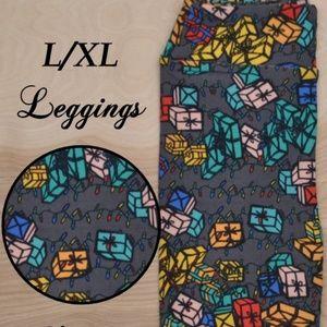 LuLaRoe Kids Christmas Leggings L/XL